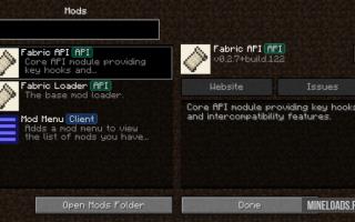 Мод Fabric API для Майнкрафт 1.14