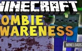 Мод Zombie Awareness для Майнкрафт 1.12.2, 1.13