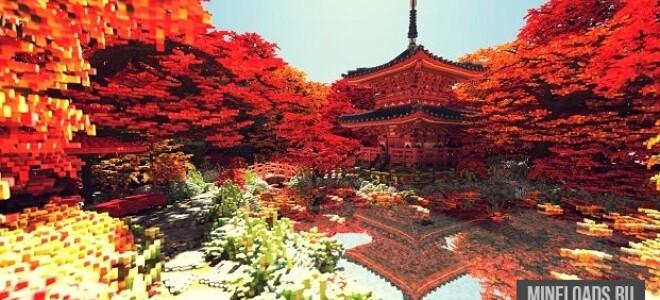 Карта Fall – Японская башня для Майнкрафт